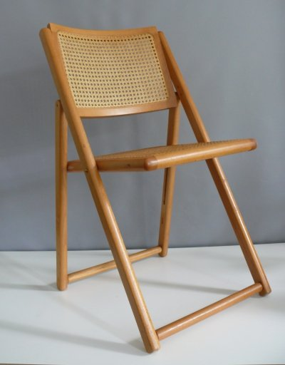 Viennese braid Vintage folding chair in beech, 1950s