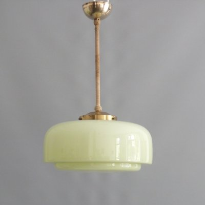 Mid century pendant lamp with pastel green lampshade