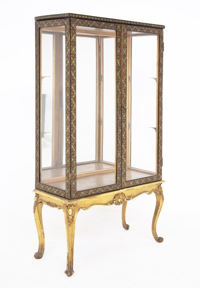 Italian Vintage Showcase in Painted Wood & Glass