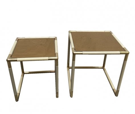 Set of two coffee tables with golden mirror glass top & brass finish by Tommaso Barbi