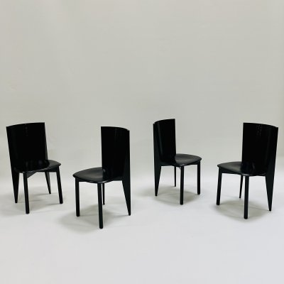 Set of 4 black lacquered dining chairs for Calligaris, Italy 1980s