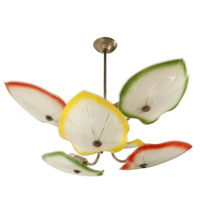 Mid Century ceiling lamp with leaf-shaped lampshades, Poland 1960s