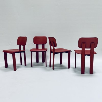 Set of 4 rare red dining chairs by Antonello Mosca for Ycami, Italy 1980s