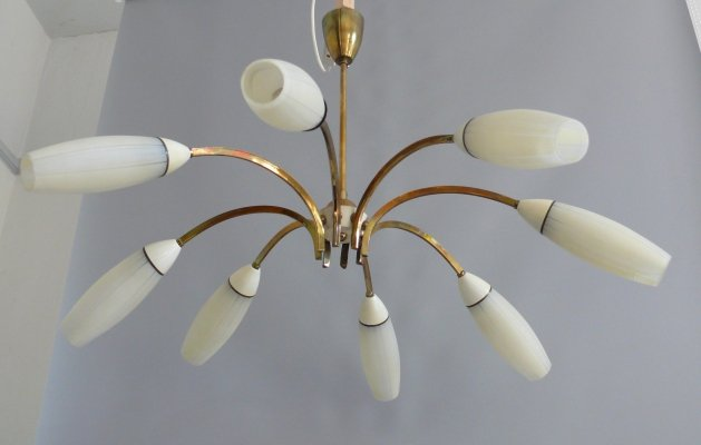 8-arm ceiling lamp with glass shades & brass, 1950s