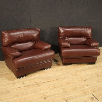 Pair of 20th Century Brown Leather Italian Armchairs, 1960