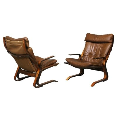 Pair of leather armchairs, 1970s