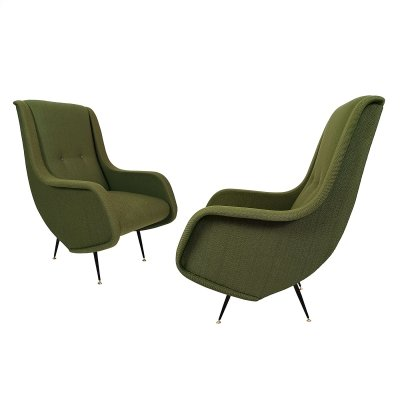Pair of armchairs with high backs, Italy 1960
