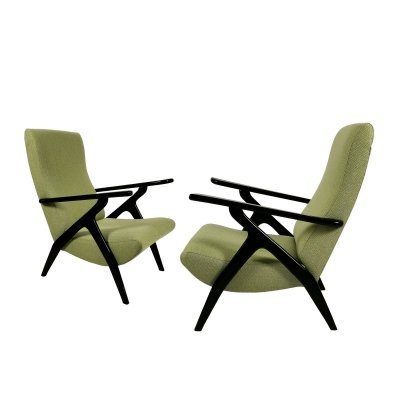 Pair of green armchairs, Italy 1950
