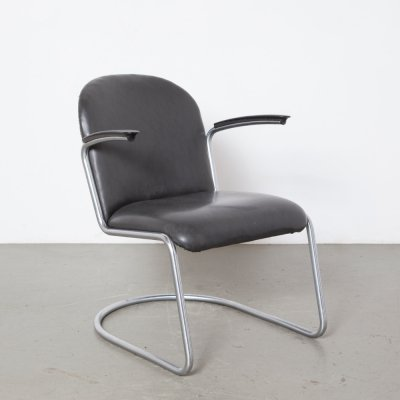 Black Leatherette 413 Armchair by Willem Gispen, 1930s