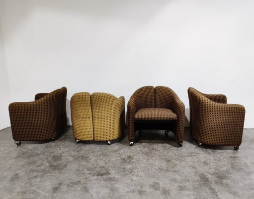 Set of 4 PS142 Easychairs by Eugenio Gerlio for Tecno, 1960s