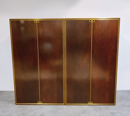 Pair of Brass & wooden cabinets by Maison Jansen, 1960s