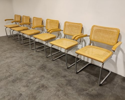 Set of 6 vintage bauhaus armchairs, Italy 1970s