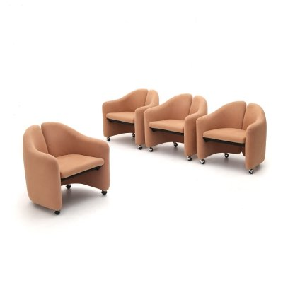 4 'PS 142' armchairs by Eugenio Gerli for Tecno, 1960s