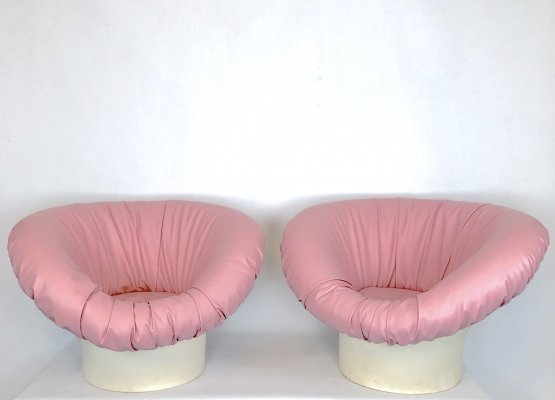 Pair of pink Korkus Armchairs by Lennart Bender for Ulferts Ab, 1968