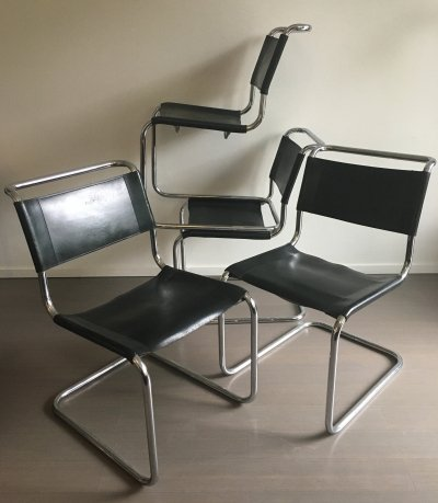 Set of 4 B33 dining chairs by Marcel Breuer for Thonet, 1970s