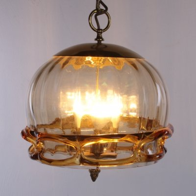 Hollywood Regency Hanging lamp with Murano glass by Fischer Leuchten, 1970s