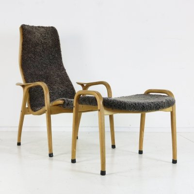 Lamino chair with footstool by Yngve Ekström for Swedese, 1960s
