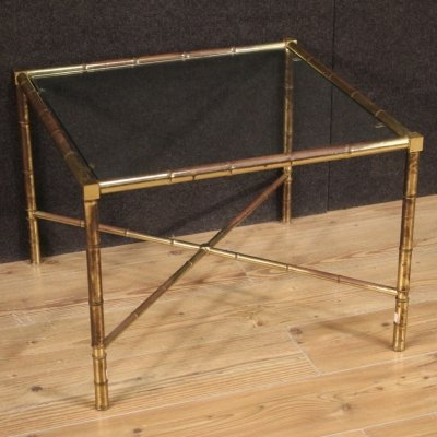20th Century Gilded & Chiseled Brass & Glass French Coffee Table, 1960