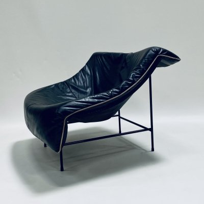 Black leather 'Butterfly' lounge chair by Gerard van den Berg for Montis, 1980s
