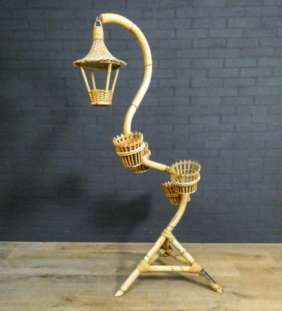 Snake model bamboo plant stand, 1950s