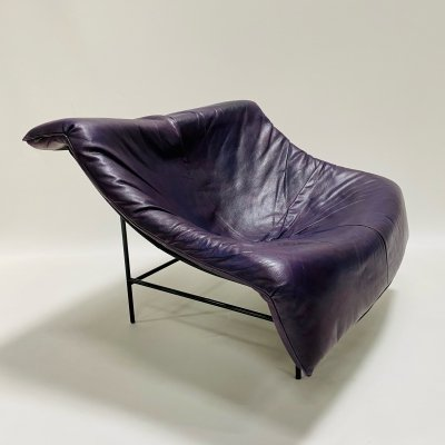Purple leather 'Butterfly' lounge chair by Gerard van den Berg for Montis, 1980s