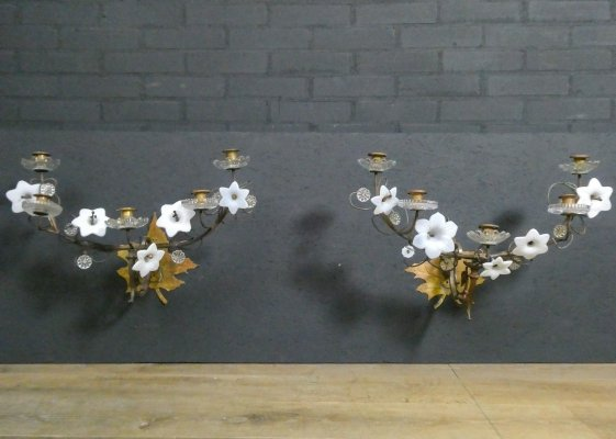Pair of large antique French wall candle holders