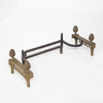 Bronze Fireplace Andirons by Bouhon 'Fres