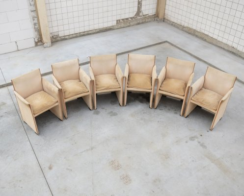 Very rare set of matching 401 dining chairs by Mario Bellini for Cassina, 1970s