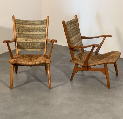 Set of 'De Ster' Gelderland lounge chairs with 'ikat' fabric