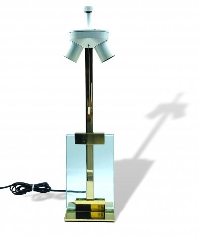 Brass & Glass Table Lamp, Italy 1970s