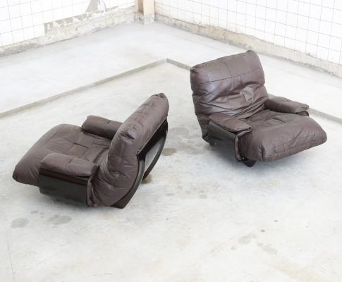 Brown leather Marsala set of 2 lounge chairs by Michel Ducaroy for Ligne Roset, 1970s