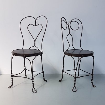 Set 2 wired metal side chairs / Ice cream Parlor chairs, early 20th century