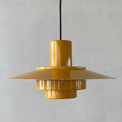 Yellow Falcon hanging lamp by Andreas Hansen for Fog & Morup, Denmark 1960s