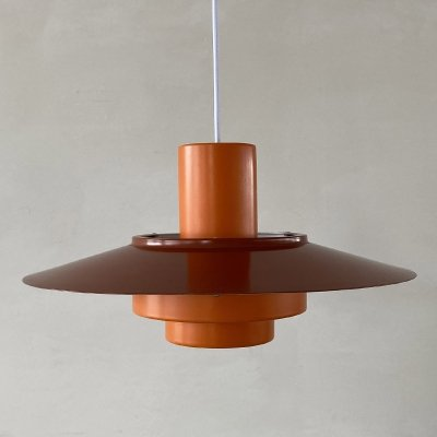 Orange & red Falcon hanging lamp by Andreas Hansen for Fog & Morup, 1960s