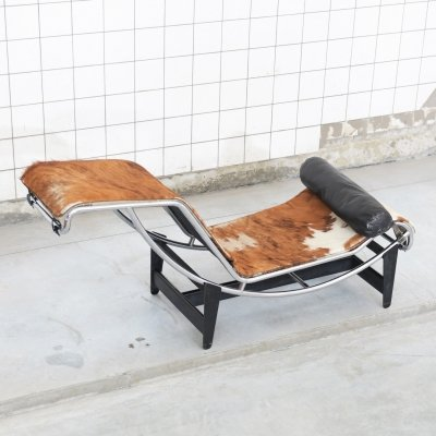 Early (low number) LC4 lounge chair with original pony upholstery by Charlotte Perriand for Cassina, 1960s