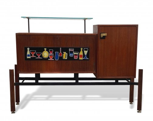 Bar Cabinet with Enameled Metal Decoration, Italy 1950s