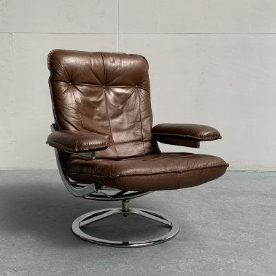 Chrome & Leather Lounge Chair by Leolux, Netherlands 1970s