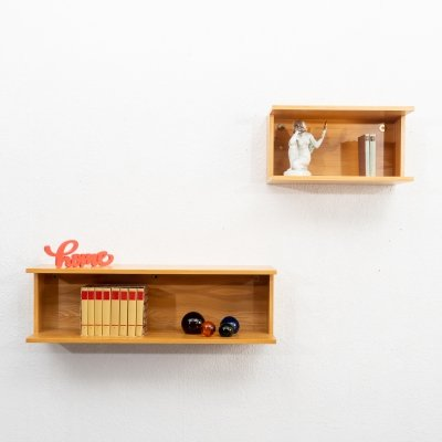 1960s pair of two wall shelves in ashwood