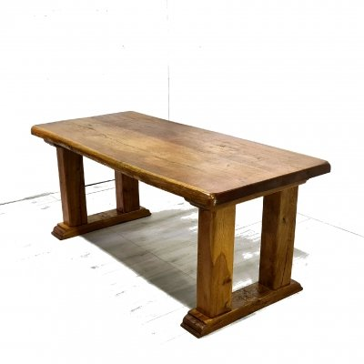 Brutalist rustic solid wood dining table, 1970s