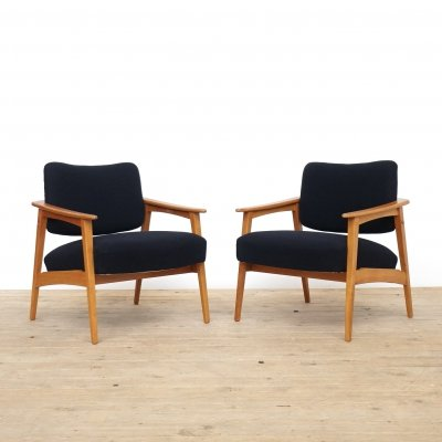 Set of two wooden easy chairs, 1960s