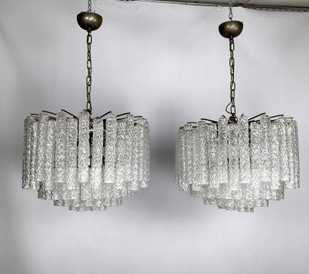 Large pair of murano clear glass chandeliers by Toni Zuccheri for Venini, Italy 60s