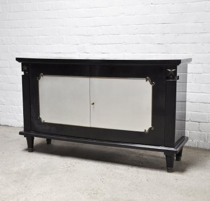 French Art Deco Black Lacquer And Bronze Cabinet, 1930's