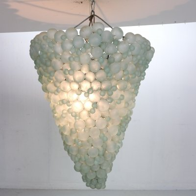 Large Mid-Century Modern Pastel Green Blown Murano Grapes Chandelier, Italy 1930