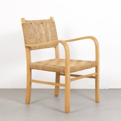 Vintage Beech & Rope Chair, Netherlands c1960s