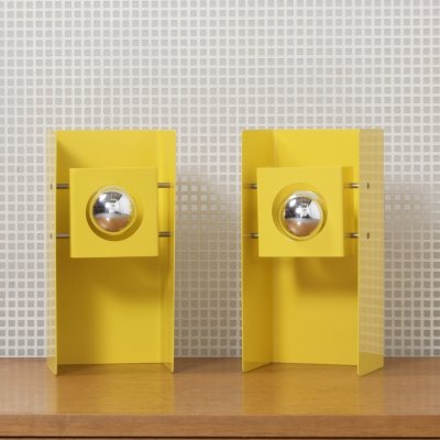 Pair of Yellow Metal NTS 8 Lamps by Philips, Netherlands c1960s