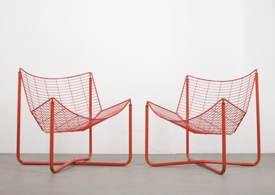 Pair of Red Metal Jarpen Chairs by Niels Gammelgaard for IKEA, Sweden c1980s