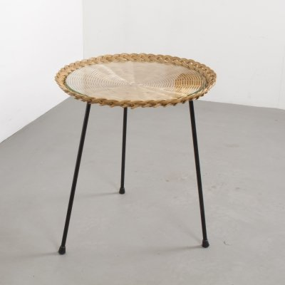 Small Vintage Round Rattan Tripod Side Table With Glass Plate