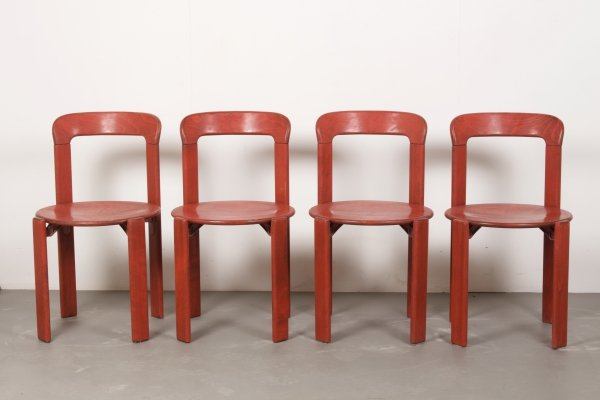 Vintage Red Stained Stackable Bruno Rey Chairs by Dietiker, Switzerland c1970s