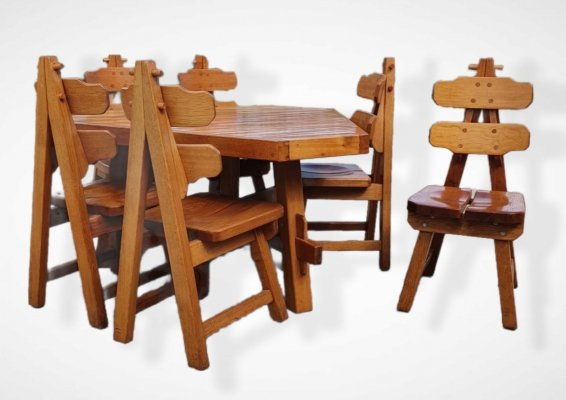 Brutalist oak set of 6 Spanish dining chairs & dining table, 1970s