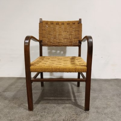 Vintage Armchair in Papercord, 1950s